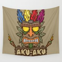 playstation Wall Tapestries featuring Aku-Aku (Crash Bandicoot) by Pancho the Macho