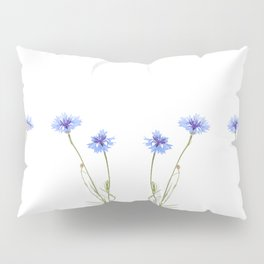 Two blue cornflower flowers isolated on white Pillow Sham