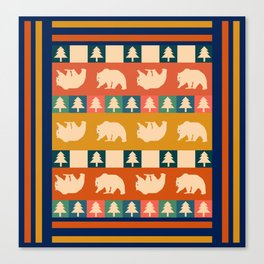 Multicolored bear pattern Canvas Print