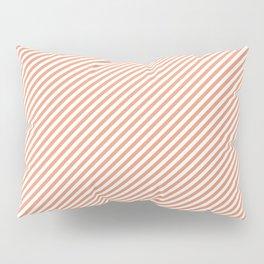 Mini Shell Coral Peach Orange and White Candy Cane Stripes Pillow Sham