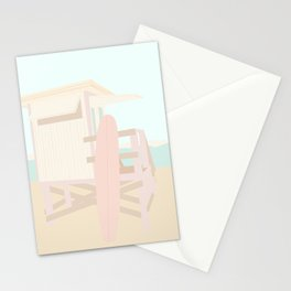 Beach Hut - Cream and Blush Stationery Cards