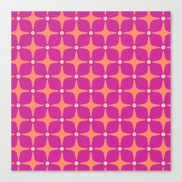 Mid Century Modern Star Pattern 143 Magenta and Orange Canvas Print