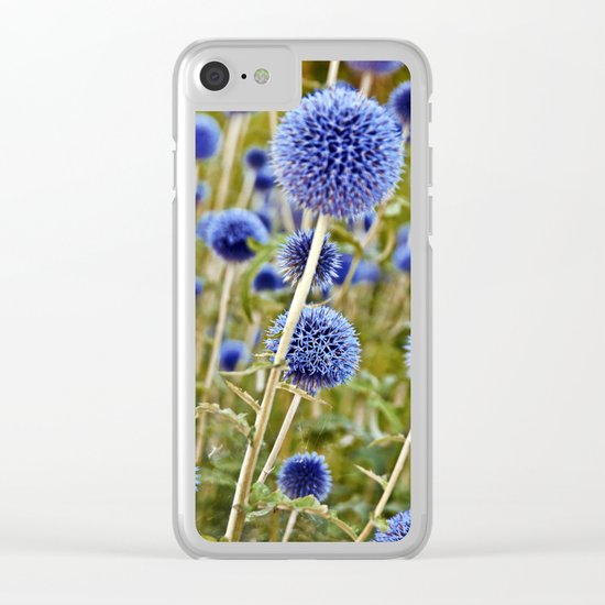 BLUE WILD THISTLE Clear iPhone Case