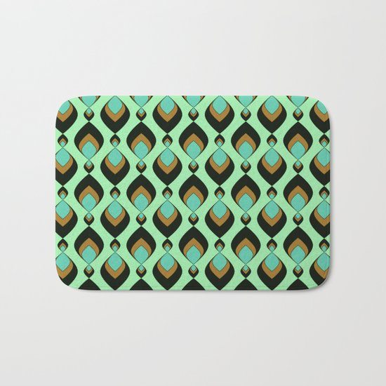 Retro pattern in green , turquoise and black colours . Bath Mat