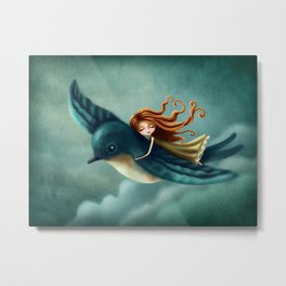 Thumbelina flying with a bird Metal Print