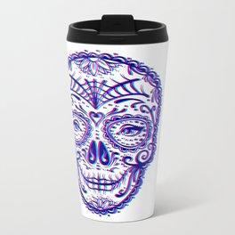 Sugar Skull (Calavera) Chromatic Aberration - Cyan Magenta Metal Travel Mug