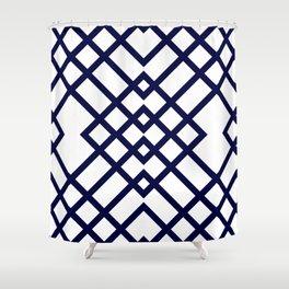Geometric Pattern in Navy Blue Shower Curtain