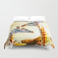 giraffes Duvet Covers featuring Giraffes by Eric Bassika