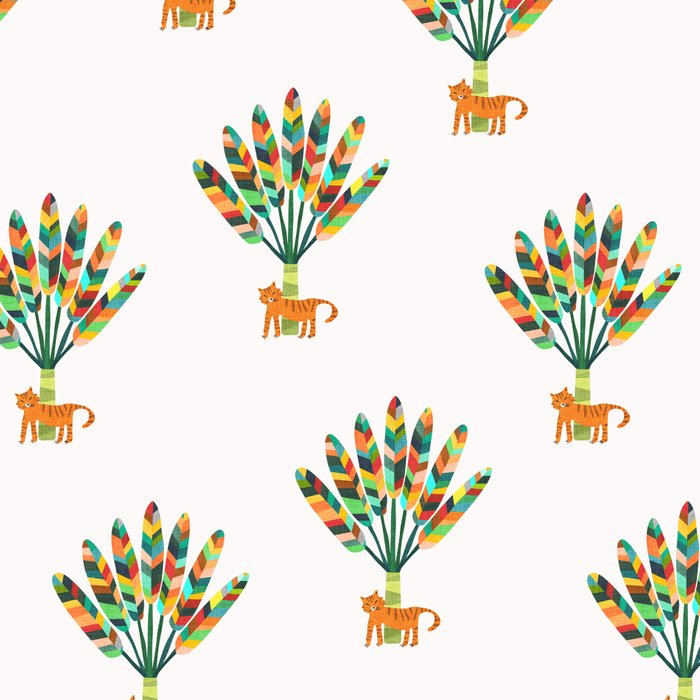 Whimsical travelers palm with tiger Leggings