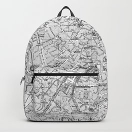 Vintage Map of Brussels (1905) BW Backpack