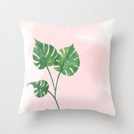 Watercolor tropical leaf Throw Pillow