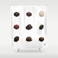 chocolate Shower Curtains featuring Chocolate by Kirifruit