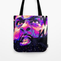 nba Tote Bags featuring JAMES HARDEN: NBA ILLUSTRATION V2 by mergedvisible