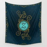 monogram Wall Tapestries featuring Monogram Z by Britta Glodde