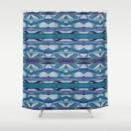 Watercolor Tribe Vibes Indigo Shower Curtain