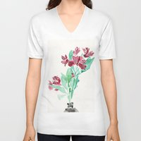 peru V-neck T-shirts featuring Peru Lilies by Kate Havekost Fine Art