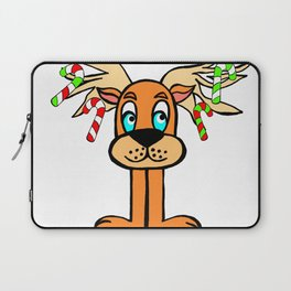 Spud the Christmas Reindeer with Candy Canes by Rosalie Laptop Sleeve