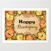 thanksgiving Art Prints featuring Happy Thanksgiving by Gina Mayes