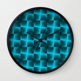 Rotated rhombuses of light blue crosses with shiny intersections. Wall Clock