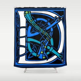 Celtic Peacocks Letter D Shower Curtain