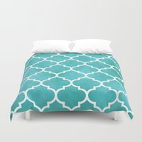 morocco Duvet Covers featuring MOROCCO - AQUA by pike design