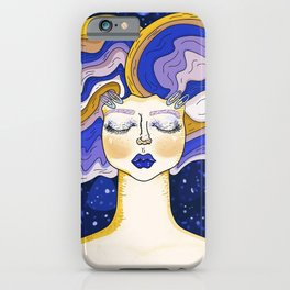 Illuminated day in blue navy iPhone Case