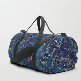 Dark blue stone marble abstract texture with gold streaks Duffle Bag