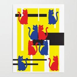 Cat in De Stijl Poster
