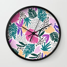 Tropical Colourful Collage Pattern Wall Clock