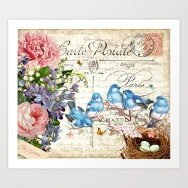 Vintage Postcard with Bluebirds Art Print