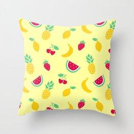 Fruit Salad Pattern (light yellow) Throw Pillow