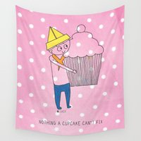 polkadot Wall Tapestries featuring Nothing a cupcake can't fix  by Diane Shearer Illustration