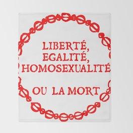 Liberte, egalite, homosexualite ou la mort / Red text Throw Blanket