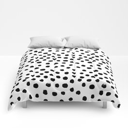 Preppy black and white dots minimal abstract brushstrokes painting illustration pattern print Comforters