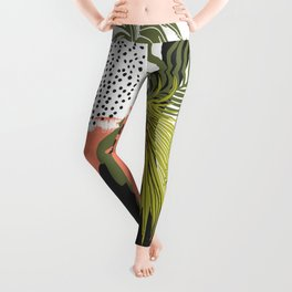 Nature abstract with linear strokes Leggings