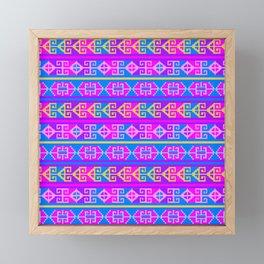 Colorful Mexican Aztec geometric pattern Framed Mini Art Print