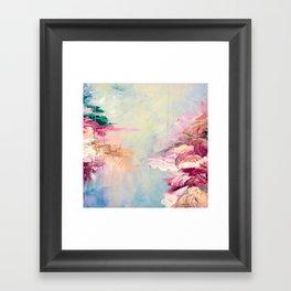 WINTER DREAMLAND 1 Colorful Pastel Aqua Marsala Burgundy Cream Nature Sea Abstract Acrylic Painting  Framed Art Print