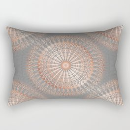 Rose Gold Gray Mandala Rectangular Pillow
