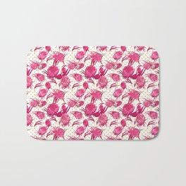 Beautiful Pink Australian Native Flowers on Gold Polka Dots - Protea, Grevillea, Eucalyptus Bath Mat