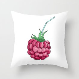 Red Raspberries With a Cocktail Straw Throw Pillow