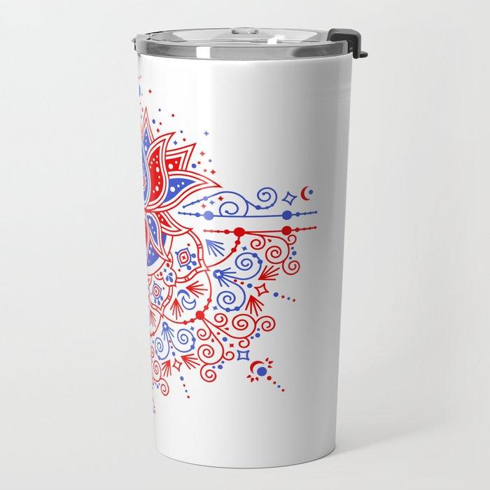 Sacred Lotus Mandala – Red & Blue Palette Travel Mug