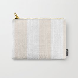 Wide Vertical Stripes - White and Linen Carry-All Pouch