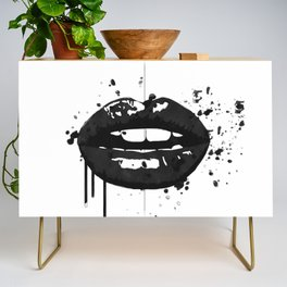 Black and white glamour fashion lips Credenza