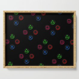 PS4 controller buttons neon aesthetics Serving Tray