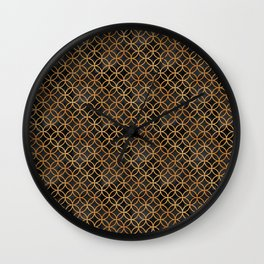 Black and Gold Seamless Pattern Wall Clock