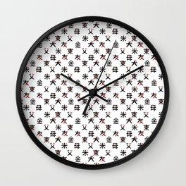 Hieroglyph seamless pattern Japan word Wall Clock