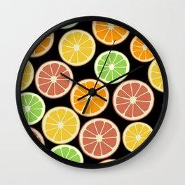Citrus Fruit Slices, Oranges, Limes, Lemons Wall Clock