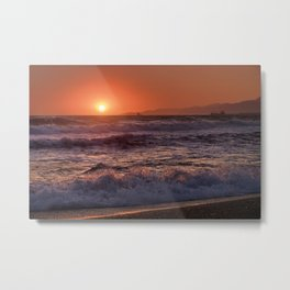 Beautiful Waves At Sunset. Metal Print