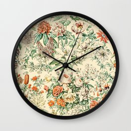 Wildflowers and Roses // Fleurs III by Adolphe Millot 19th Century Science Textbook Artwork Wall Clock