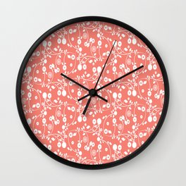 Salmon Pink Floral Pattern Wall Clock